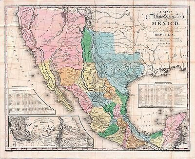 1846 MEXICO with TEXAS REPUBLIC era old MAP atlas poster early history state