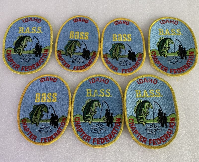 vintage lot of 6 Idaho Bass Federation Charter Federation Embroidered Patches