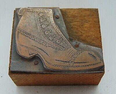 Vintage Printing Letterpress Printers Block Fashion Work Boot Shoe