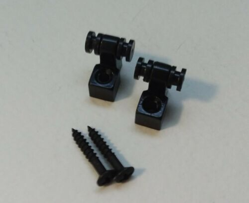 Roller string trees (2, black) retainers w/ screws for electric guitar parts