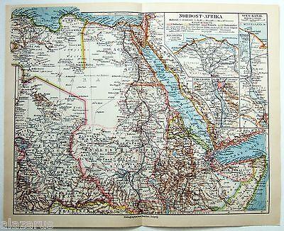 Vintage Original 1924 German Map of Northeast Africa