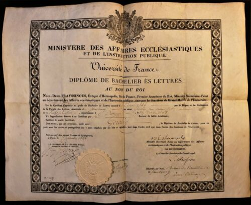 DIPLOMA ON LARGE PARCHMENT IN FRENCH 1826 Bachelor Degree in Art