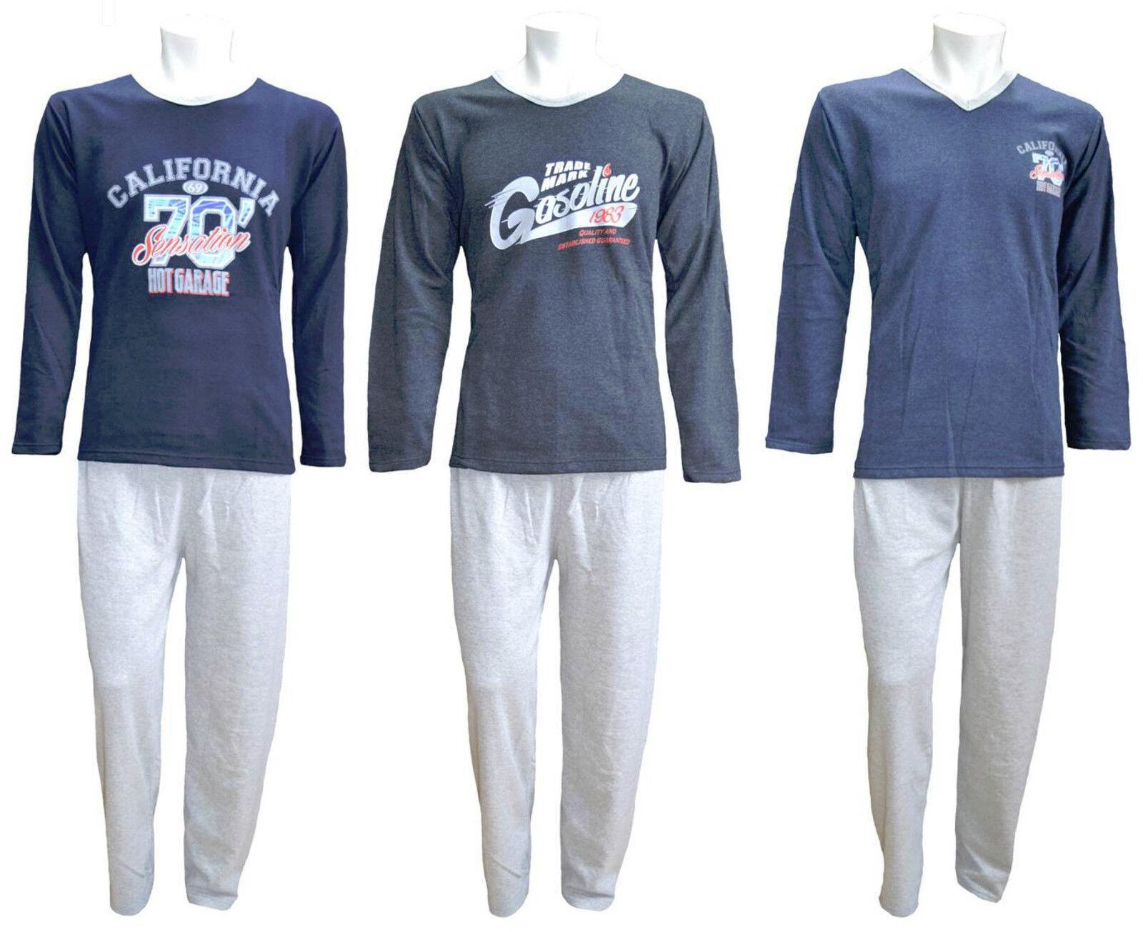 Warmer Herren Schlafanzug Pyjama,Lang, mit Motiv,Baumwolle, Gr. M-XXL