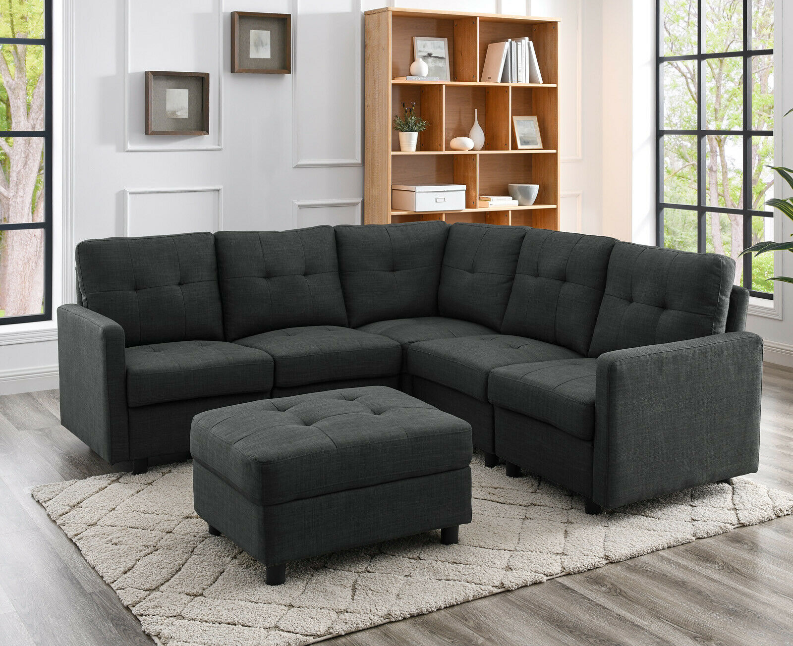 Contemporary Convertible Sectional Sofa Linen Fabric Couch for Living Room Black