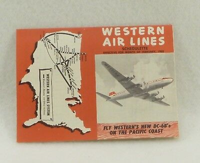 Western Airlines Schedulette February 1953