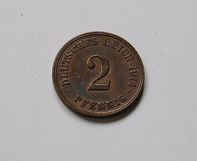 KAISERREICH: 2 Pfennig 1914 E, J. 11, prägefrisch/unc.