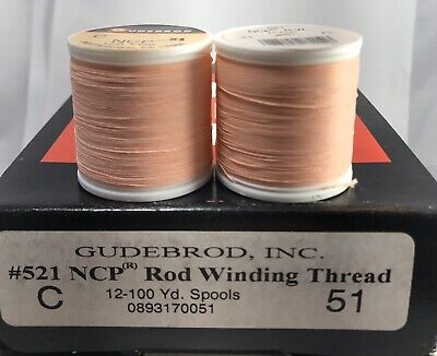 2 Spools GUDEBROD Nylon Neon Thread Jig Fly Lure Making #614 Flaming Red Size A