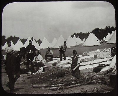 Glass Magic Lantern Slide FIELD COOKING RANGES C1890 OLD VICTORIAN ARMY PHOTO
