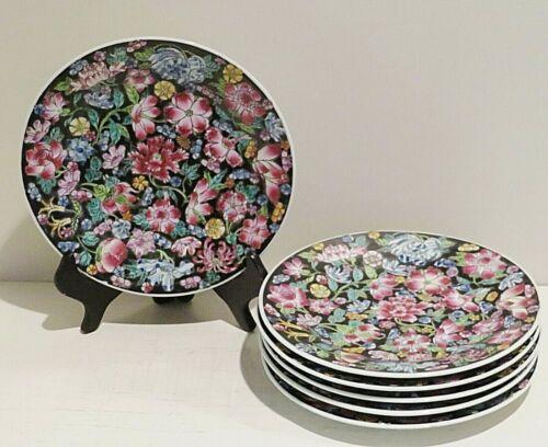 """Jingdezhen Chinese Mille Fleur Noire Porcelain SET 6 Bread / Dessert Plates 7"""""""