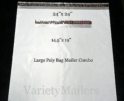 7 Poly Bag Shipping Envelope Combo 24x 24 14.5x 19 2.5 Mil Ex-large Mailers