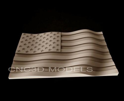 3D STL Model for CNC Router Engraver Carving Artcam Aspire USA Flag America AF12