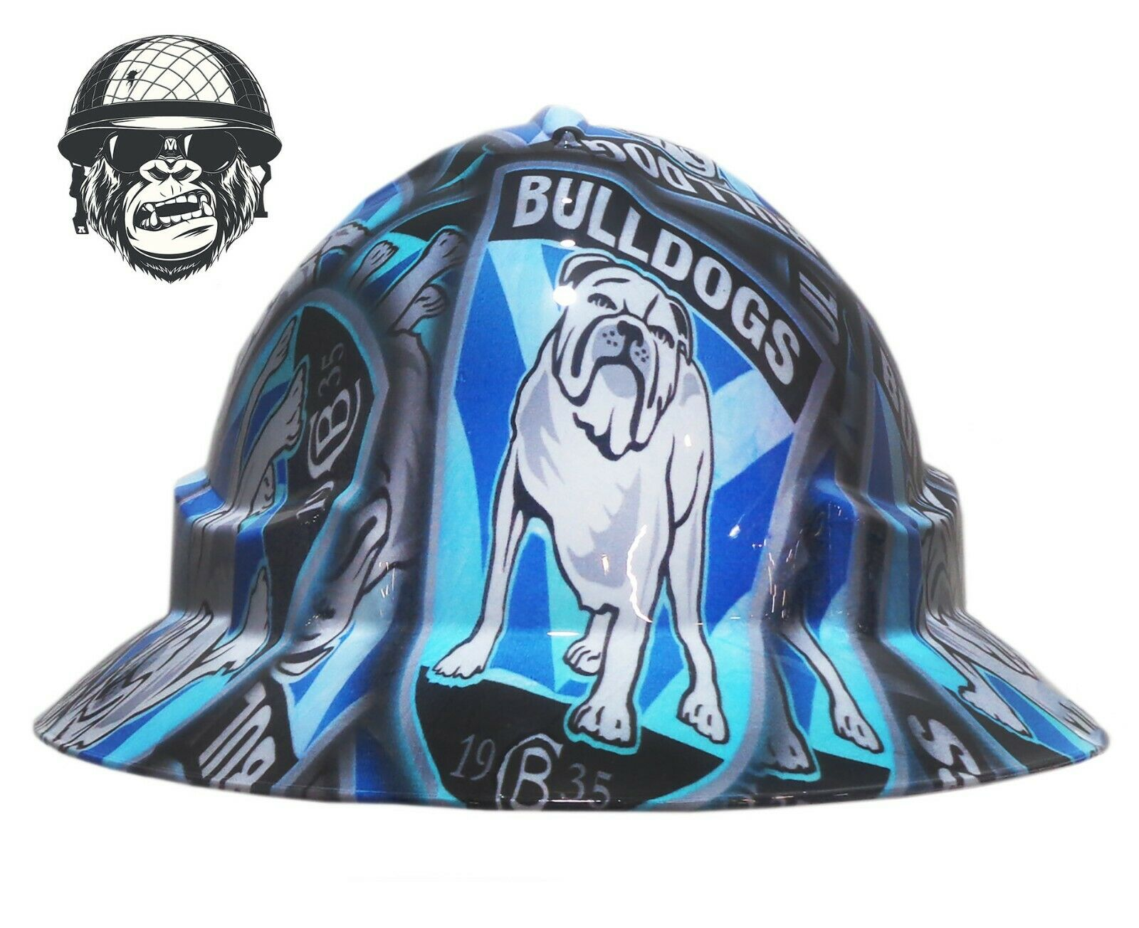 Custom Hydrographic Wide Brim Safety Hard Hats Mining- CANTERBURY BULLDOGS WIDE