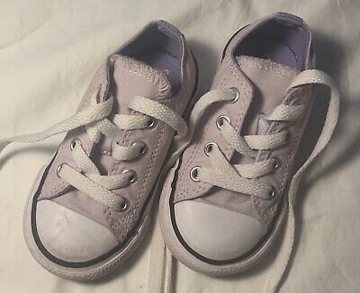 Toddler Girls CONVERSE Lavender Canvas Low Top Shoes Size 6 FREE SHIPPING