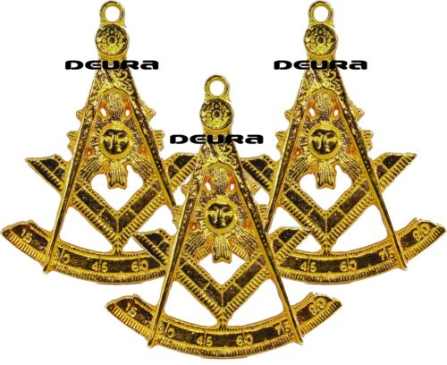3 X Past Master Golden Tone Jewel For Masonic Collar Regalia Freemasons Pendent