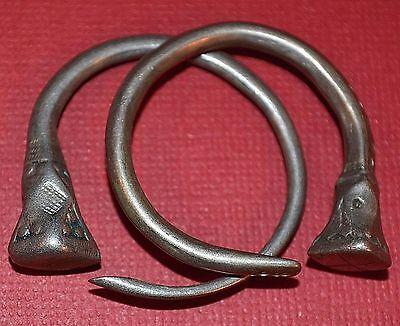 Medium Antique Tuareg Tribal Ethnic Silver Tsabit Tizabaten Earrings Mali Africa