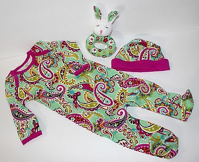 (Vera Bradley Layette Baby Infant Tutti Fruitti Sleeper Outfit Hat Rattle 3-6 mos)