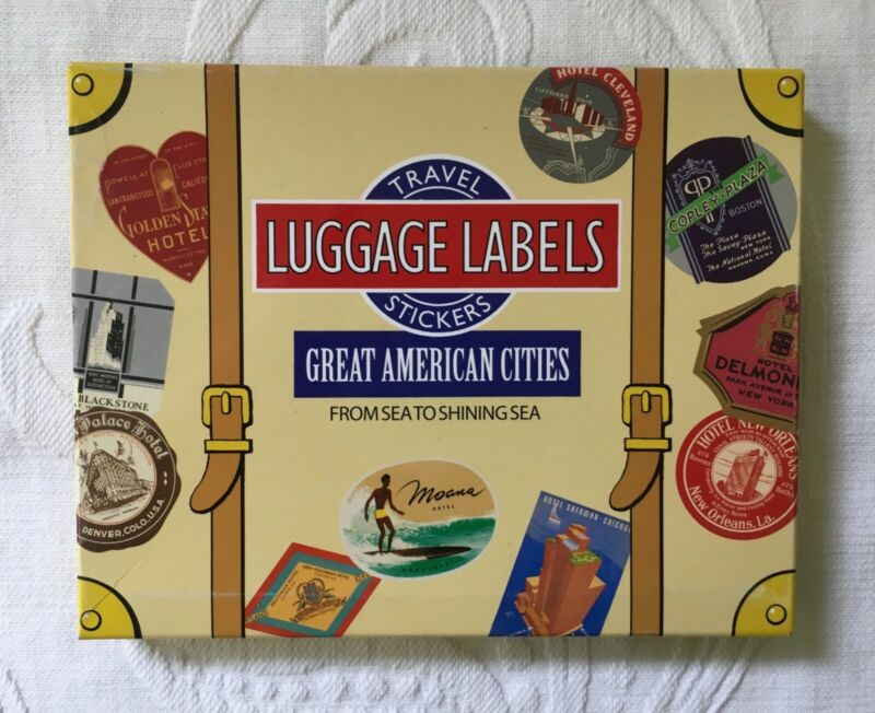 NEW Box 20 Vintage Style Antique LUGGAGE LABEL Stickers American City Hotels