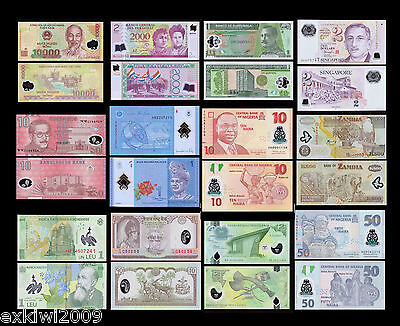 Polymer Banknote Set 12 PCS all Mint Uncirculated Banknotes Set # 1