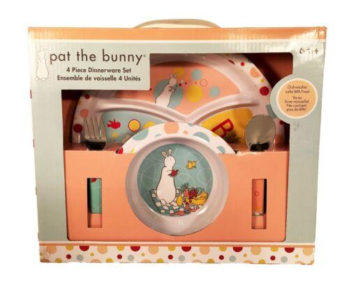 Pat the Bunny 4 Piece Child Melamine Dinnerware Set - Plate, Bowl, Fork & Spoon