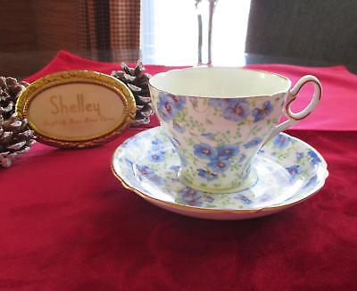 Pansy Chintz (SHELLEY  ** BLUE PANSY CHINTZ ** #13166 Cup & Saucer   Cambridge Shape)