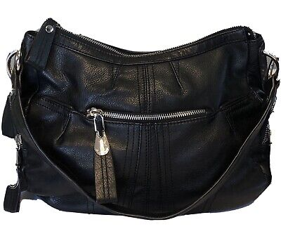 B MAKOWSKY Black Leather Silver Tone Hardware Shoulder Bag Handbag Nice!