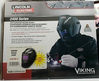 Lincoln Viking 2450 Black Auto Darkening Welding Helmet W4c Lens K3028-2