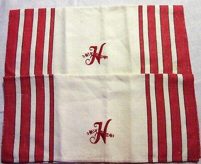 "handmade cream red & black monogramed H kitchen towel cloth 30"" x 17"""