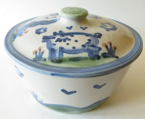 """M A Hadley Country Scene Blue Pig Cow Covered Casserole Holds 2 Qts 8"""""""