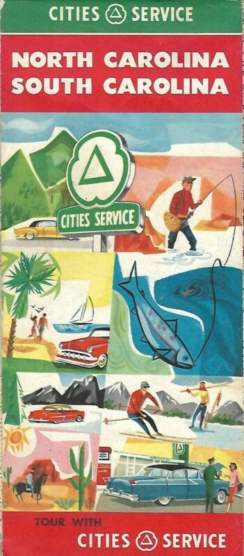 1957 CITIES SERVICE Road Map NORTH & SOUTH CAROLINA Charleston Raleigh Charlotte