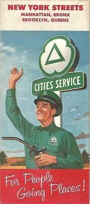 1958 CITIES SERVICE Road Map NEW YORK CITY Manhattan Brooklyn Bronx Queens