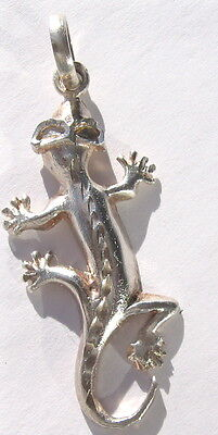 .925 Sterling Silver Lizard With Sunglasses Pendant 4.5 Cm Long Unique (Lizard With Sunglasses)