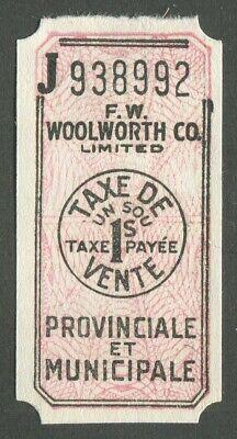CANADA REVENUE BILINGUAL PROVINCIAL & MUNICIPAL 1¢ SALES TAX (Canada Sales Tax)