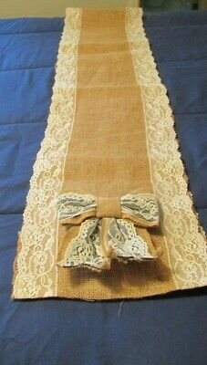 Farmhouse Country Burlap and Lace Table Runner with Bows 96 inches by 11 inches](Burlap Table Runner With Lace)