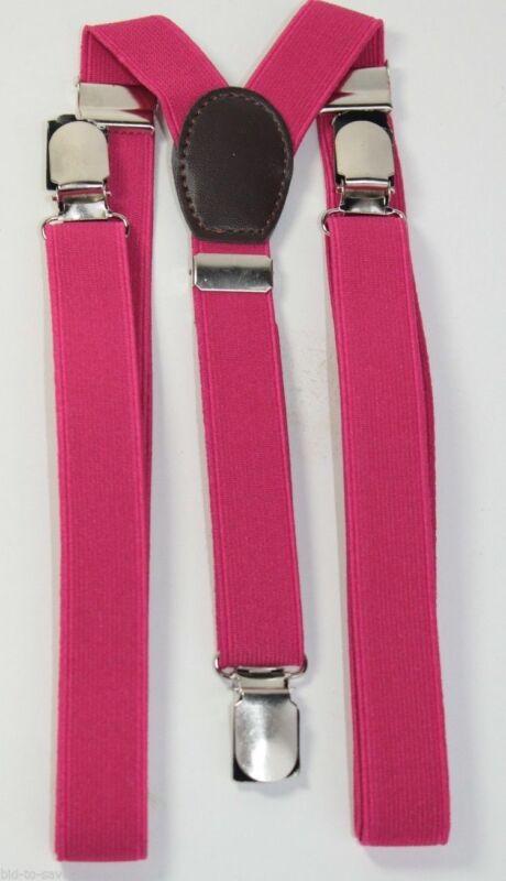 Magenta Pink Mens Womens Clip-on Suspenders Elastic Y-shape Adjustable New