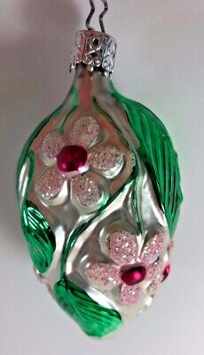 Vintage Blown Glass INGE Oval Floral Christmas Tree 3 inch ornament