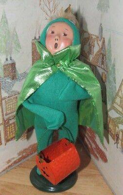 Byers Choice Caroler Halloween Frog Prince Boy with Crown & Pumpkin 2002 - Byers Halloween