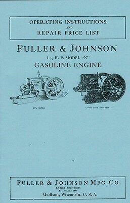 Fuller Johnson 1 12 H.p Model N Gas Engine Motor Book