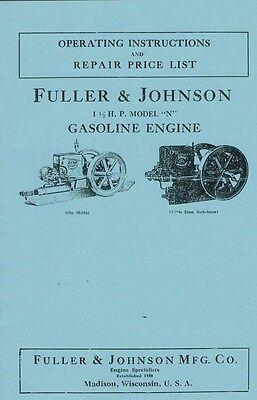 Fuller Johnson 1 12 H.p Model N Gas Engine Motor Book