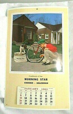 Vintage 1963 Morning Star Newspaper Advertising Sales Wall Cardboard Calendar