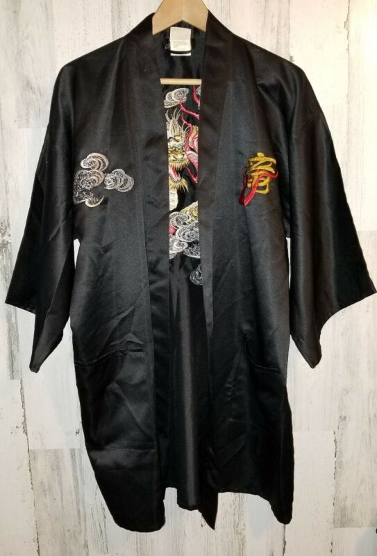 VTG Japanese Kimono Embroidered Dragon BLACK Robe Made in Japan