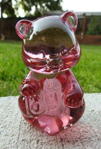 Vtg Fenton Art Glass 5151 CP Seated Bear Empress Rose Pink Paperweight Figurine
