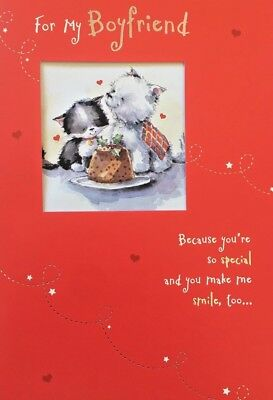 For My BOYFRIEND Christmas Greeting Card cute puppy and kitten scene ()