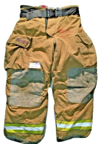 38x30 Globe Gxtreme Brown Firefighter Turnout Pants with Yellow Tape P1208