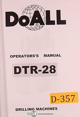 Doall Dtr-28 Drilling Tapping Machine Operations Adjustments And Parts Manual