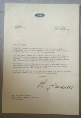 FORD : LETTER FROM PHILIP CALDWELL CO FORD 1980 (SIGNED)