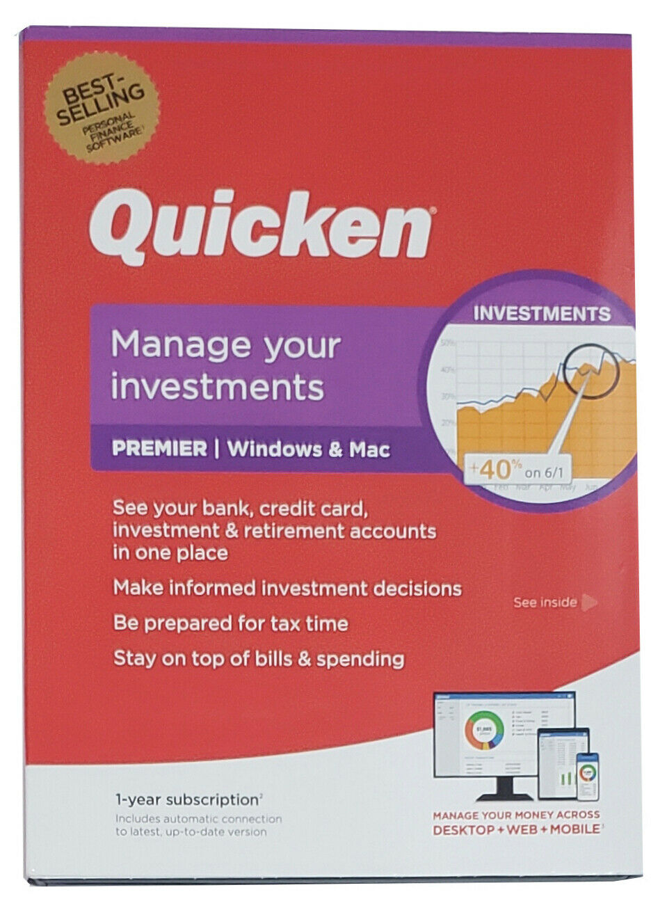 Quicken Premier Finance Software, 1-Year Subscription, For PC and Mac 2020