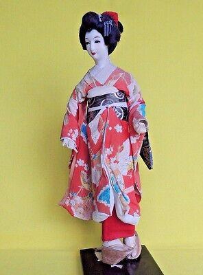Vintage Beautiful Japanese Doll Orange Traditional Costume Shoes Wood Base 14