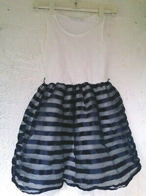 Tutu Tank (The Children Place Tutu tank blue Striped Dress size M 7/8 Girls )