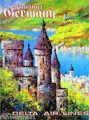 Frankfurt Germany Europe  Vintage European Travel Advertisement Art Poster
