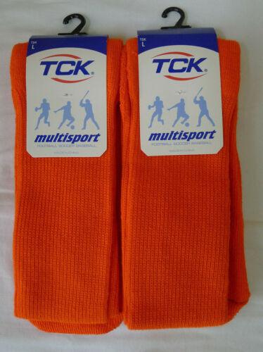 Lot 2 TCK Tube Socks Orange Large Soccer Baseball Volleyball Multi-Sport WX